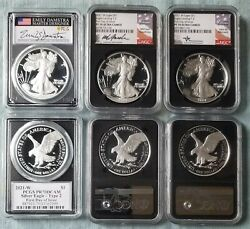 2021-w 1 Type 2 Ngc/pcgs Pf70 Fdoi 3 Coin Set All Type 2 Signed Labels