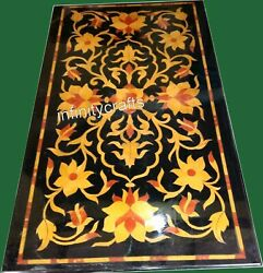 Marble Coffee Table Top Floral Design Inlaid Patio Table For Lawn 24 X 48 Inches