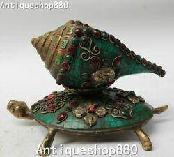 8 Tibet Turquoise Silver Inlay Gem Turtle Tortoise Conch Shell Trumpet Horn