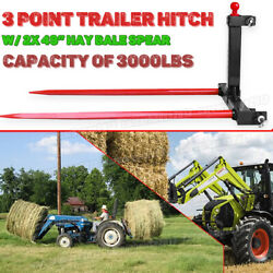 3 Point Cat 1 Trailer Hitch Attachment 2x49 Hay Bale Spear Tractor Quick Attach