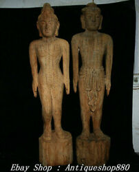 Rare Old China Wood Carved Tcm Acupuncture Points Human Body Model Statue Pair