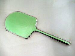Hand Mirror - Green Enamel And Silver - Hallmarked-chester 1938 By Walker And Hall