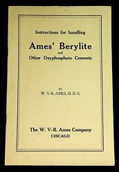 C1920s Dental Instructions Ames Berylite Oxyphosphate Cements Price List B3