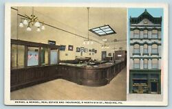 Postcard Pa Reading Mengel And Mengel Real Estate And Insurance Company Interior S15