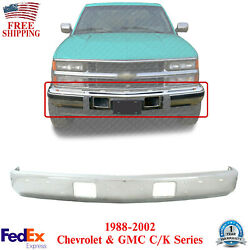 Front Bumper Face Bar Chrome Steel For 1988-2002 Chevrolet And Gmc C/k Series