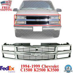 Front Grille Chrome Shell With Primed Insert For 1994-2000 Chevrolet C/k Series