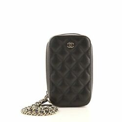 Zip Around Phone Case With Chain Quilted Caviar