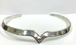 Vintage Solid Sterling Silver Wonder Woman Style Notched Collar Necklace 46gr