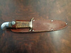 Western Boulder Colo. 677 Bone Stag Handle Knife With Leather Sheath