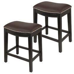 Homegear Faux Leather Backless Metal-stud Bar Stools, Set Of 2