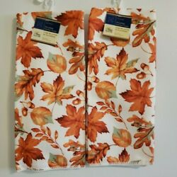 Home Collection Fall Leaves Kitchen Dish Towels 15quot; x 25quot; Set of 2 NWT