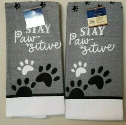 Home Collection Stay Paw sitive Paw Print Kitchen Towels 15quot; x 25quot; Set of 2 NWT
