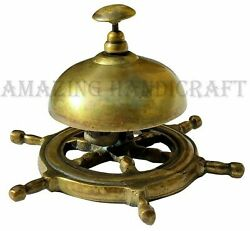 Antique Brass Ship Wheel Bell Vintage Hotel Counter Front Desk Bell Collectible