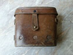 Vtg Old Rare Ww2 Wwii Russian Soviet Red Army Field Leather Binoculars Case Box
