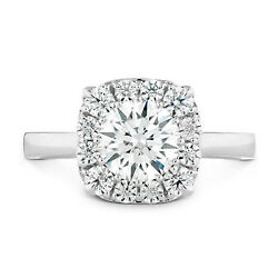 950 Platine Diamant Fianandccedilailles Mariage Bague 1.10 Ct Rond Coupe Solitaire Size