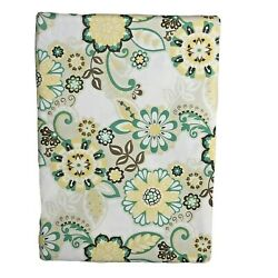 Waverly Home Vinyl Tablecloth Yellow Teal Floral Indoor Outdoor Asst. Sizes New