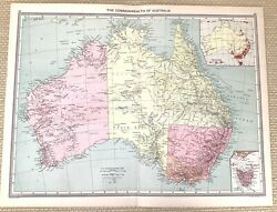 1910 Antique Map Of The Commonwealth Of Australia Population Chart Tasmania Old