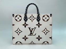 Louis Vuitton Limited Edition Giant Monogram Jungle Onthego Gm In White Tote Bag
