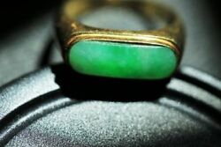 Jewelry013 Very Nice Estate 18k Gold A Jade Ring.  Inner 19 X 19 Mm