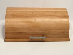 Crate And Barrel Lift Top Bamboo Wood Natural Finish Metal Handle Excellent