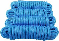 4 Pack 3/4 Inch 25ft Nylon Dock Line Double Braid Mooring Rope For Boat Marine