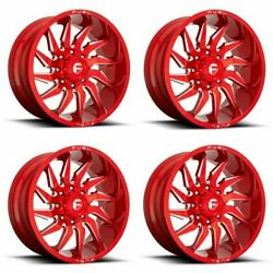 Set 4 20 Fuel D745 Saber 20x10 Candy Red Milled 5x5.5 Wheels -18mm Truck Rims