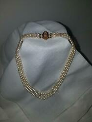 3 Strand Pearl Necklace With Diamond Clasp