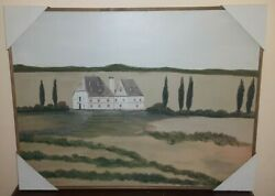 Tuscan Colonial Farmhouse Green Hues Landscape Framed Painted Print 18 X 24 In