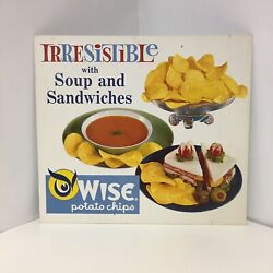 Vintage Wise Potato Chips Irresistible With Soup And Sandwiches Cardboard Sign