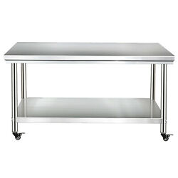 Stainless Steel Kitchen Work Prep Table Bench Commercial Restaurant With Wheels