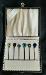 Danish Sterling Silver Hand Enameled Stick Hat Pins In Box