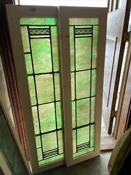 Sg3640 Pair Antique Painted And Fired Stained Glass Window 15 X 54.5