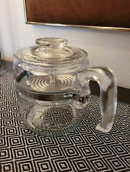 Vintage Pyrex Flameware 7756 Clear Glass Percolator Coffee Pot Complete 4-6 Cups