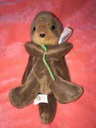 Ty Beanie Baby Seaweed The Otter 1995 1996 Misplaced Tag Errors Rare Pvc Pellets