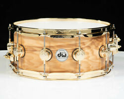 Dw Collectorand039s 3/3/3 Maple 6x14 Snare - Olive Ash Burl W/gold Hw