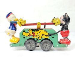 Vintage Wells Mickey Mouse Donald Duck Pluto Handcar Wind-up Train 8 For Repair