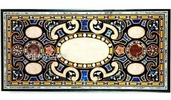 Marble Coffee Table Top Marquetry Art Dining Table For Home Decor 30 X 60 Inches