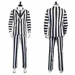 Beetlejuice Adam Cosplay Costume Black And White Striped Suit Jacket Shirt Pants