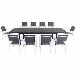Dawson11pc 10 Aluminum Sling Chairs, 78-118 Aluminum Extension Table - Whit...