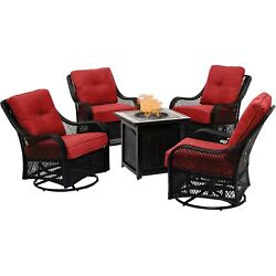 Orleans5pc 4 Swivel Gliders And 26 Square Fire Pit - Berry/bronze