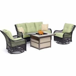 Orleans4pc Fire Pit 2 Swivel Gliders Sofa Square Kd Fire Pit W/tile - Gree...