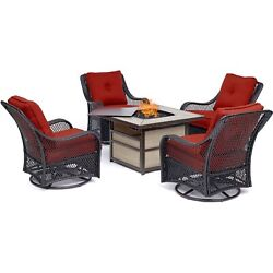 Orleans5pc Fire Pit 4 Swivel Gliders Square Kd Fire Pit W/tile - Berry/tile