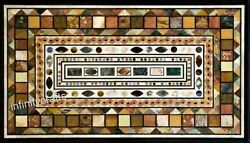 Marble Coffee Table Top Marquetry Art Patio Table For Lawn Decor 30 X 48 Inches