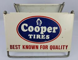 Vtg Cooper Tires Tire Stand Tin Metal Advertising Sign Gas Oil Garage