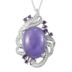 925 Sterling Silver Purple Jade Amethyst Necklace Pendant Gift Size 20 Ct 20.4