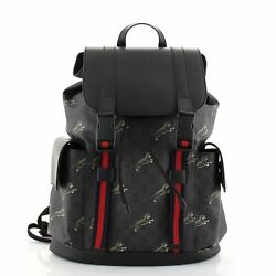 Double Pocket Buckle Backpack Printed Gg Coated Canvas Large