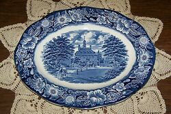 Staffordshire England - Liberty Blue - 12-inch Oval Platter - Excellent Cond.