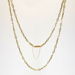 Antique • Art Deco 18k Yellow Gold Mariner Chain Link Necklace W/ Safety Clasp