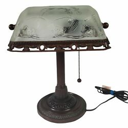 Bronze Metal Bankers Desk Piano Lamp Frosted Glass Etched Floral Design Pull