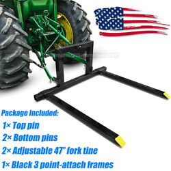 Adjust 3 Point Pallet Hitch Fork Attachment Cat 1 Quick Hitch Tractor 1500 Lbs